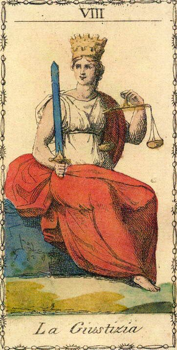 Justice Card from Ancient Tarot of Lombardy Deck   Vintage Oracle   Major Arcana Art