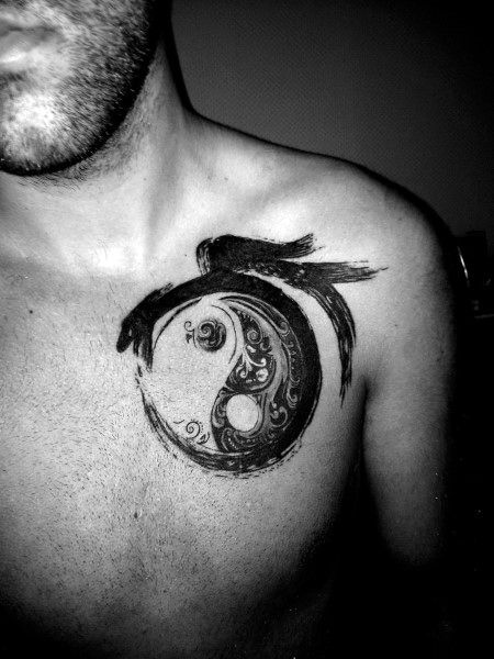Paint Brush Dragon And Yin Yang Tattoos For Men On Chest | Tattoos ...