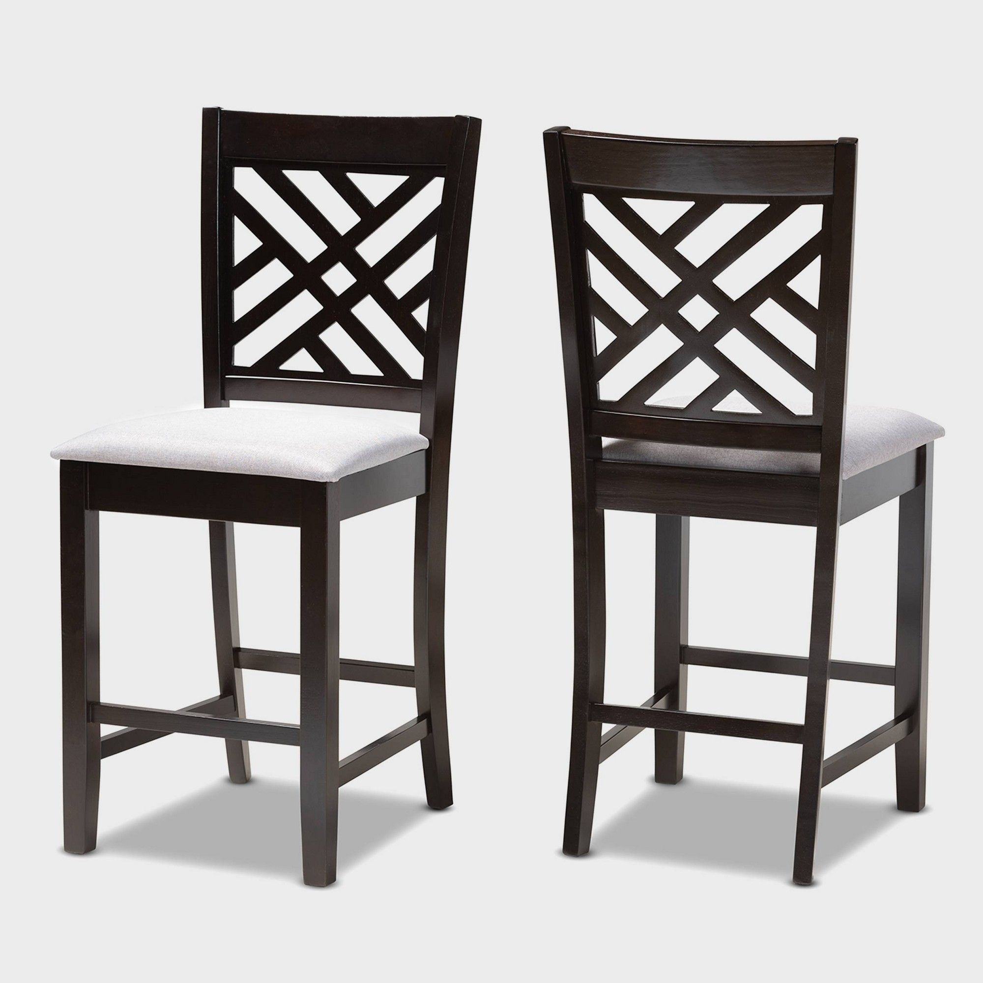 Set Of 2 Caron Finished Wood Counter Height Pub Chairs Gray