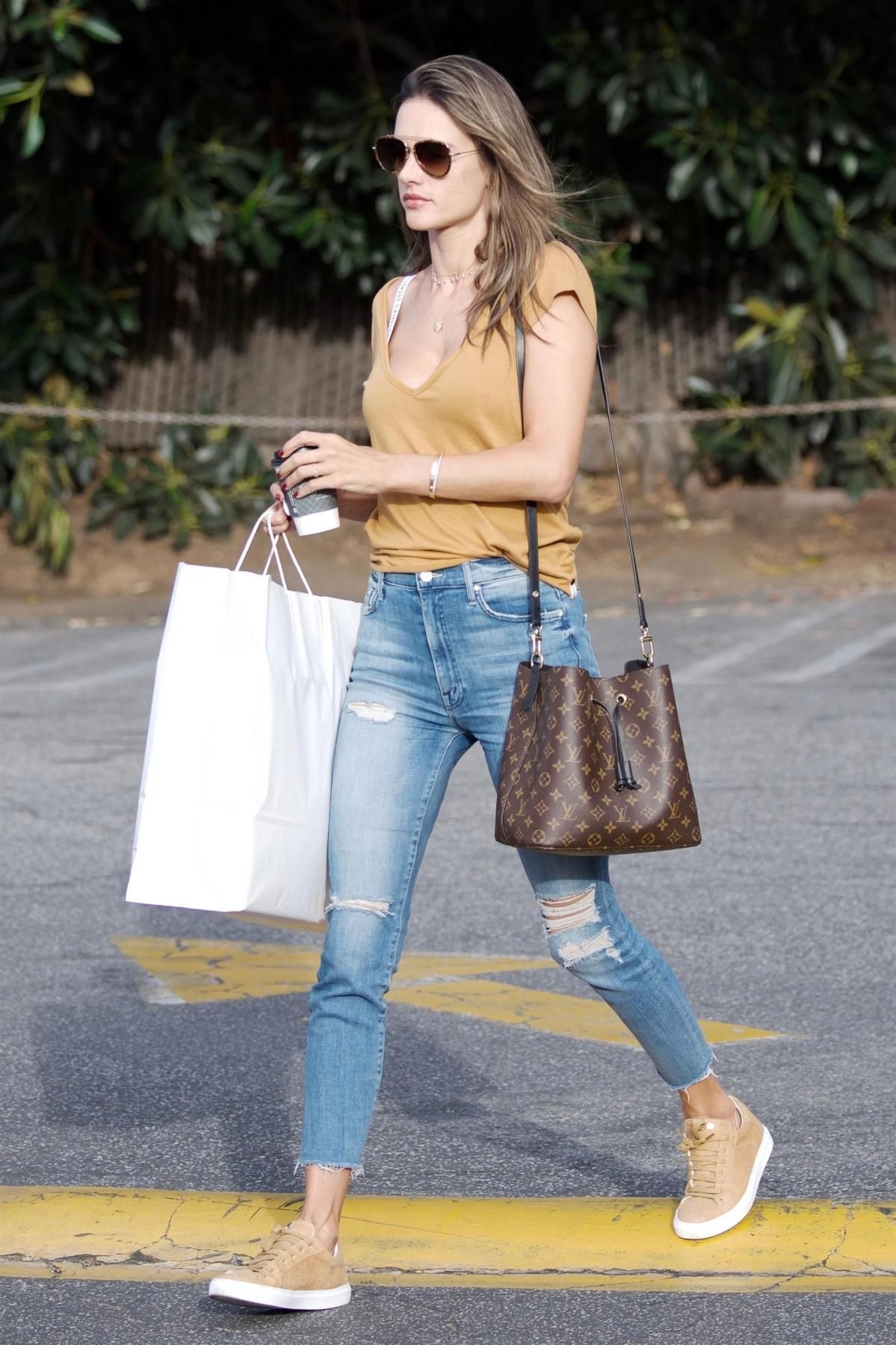 Alessandra Ambrosio wearing Mother Sinner Ankle Fray Jeans in Losing  Control eb3ef1fd31ce2