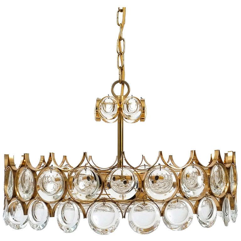 Beautiful gilt brass glass chandelier by palwa glass beautiful gilded brass glass chandelier by palwa from a unique collection of antique and mozeypictures Images