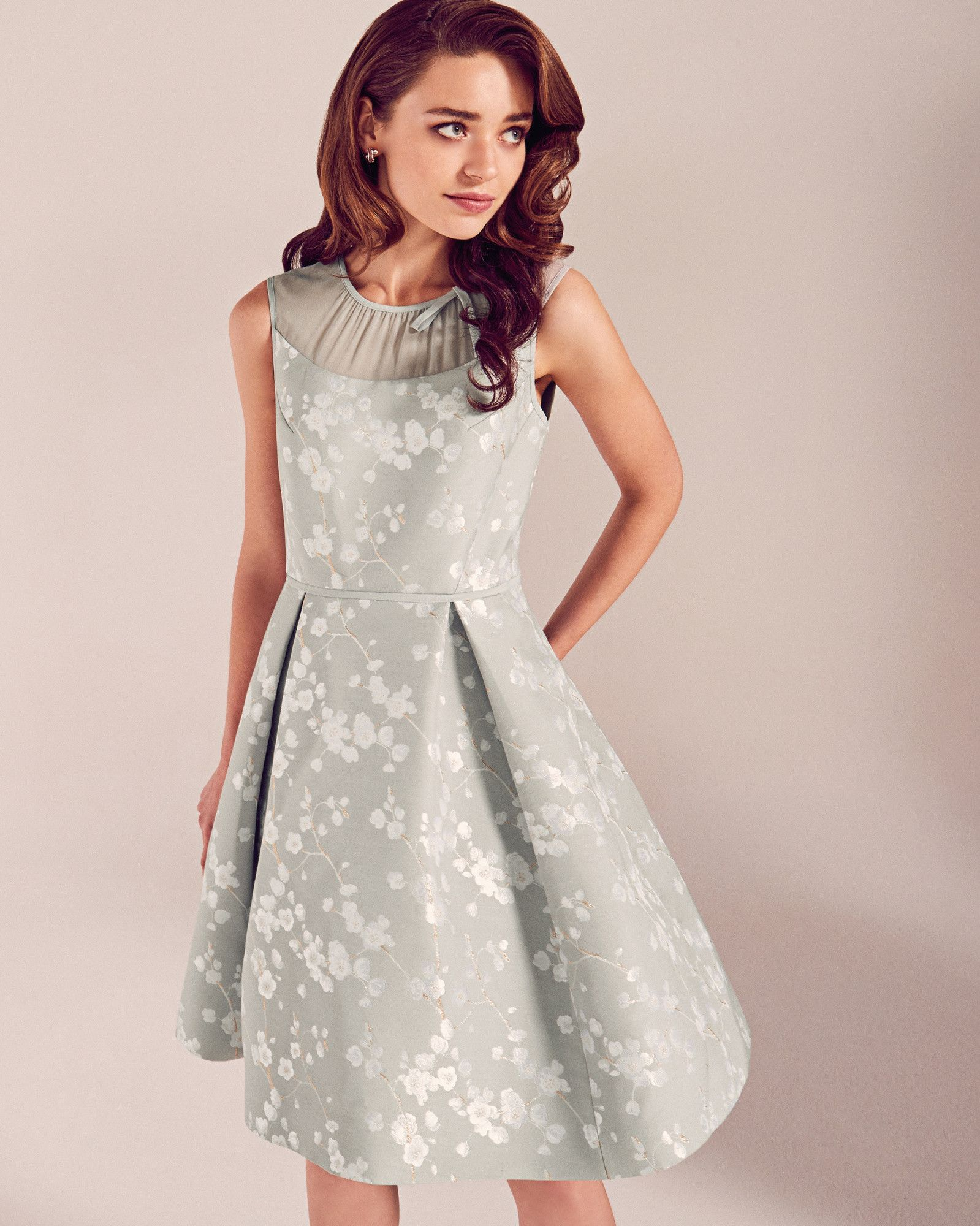 Oriental blossom pleated dress light grey ss17 tie the knot oriental blossom pleated dress light grey ss17 tie the knot ted baker uk ombrellifo Choice Image