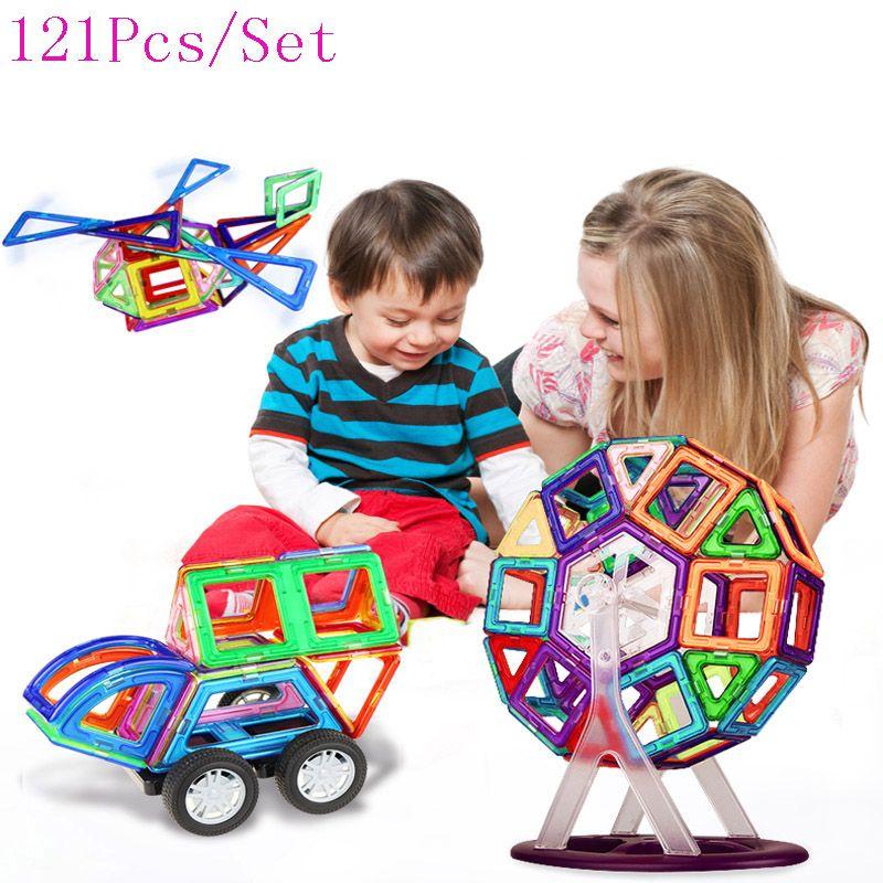 121 UNIDS Mini Diseñador Aclare Construcción Magnética Juguetes de Los Niños Educativos Bloques de Construcción de Montaje de Plástico DIY Ladrillos Technic
