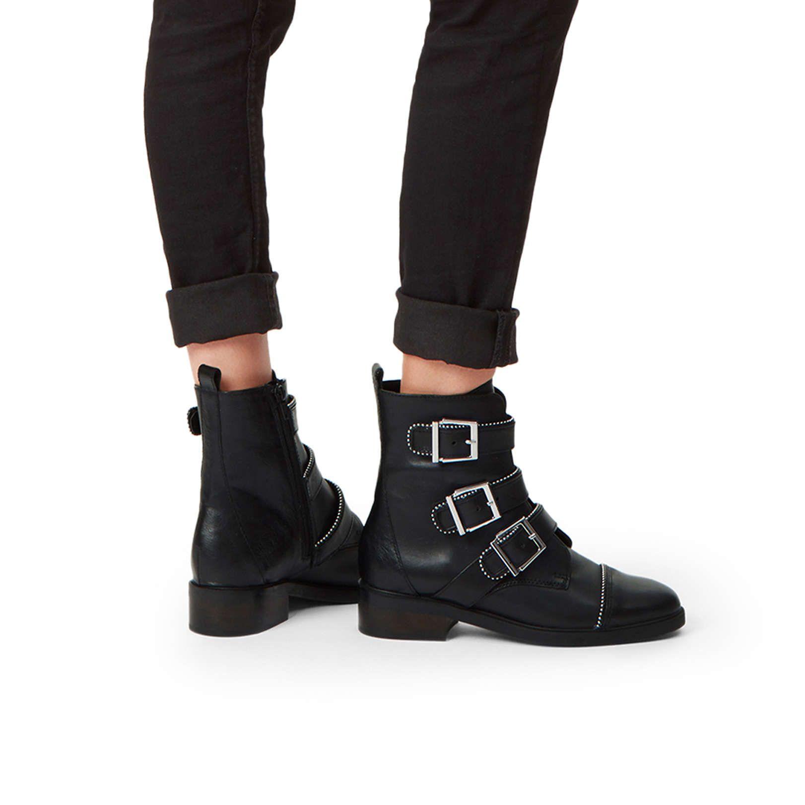Shop SPARSE Black Leather Biker Boots