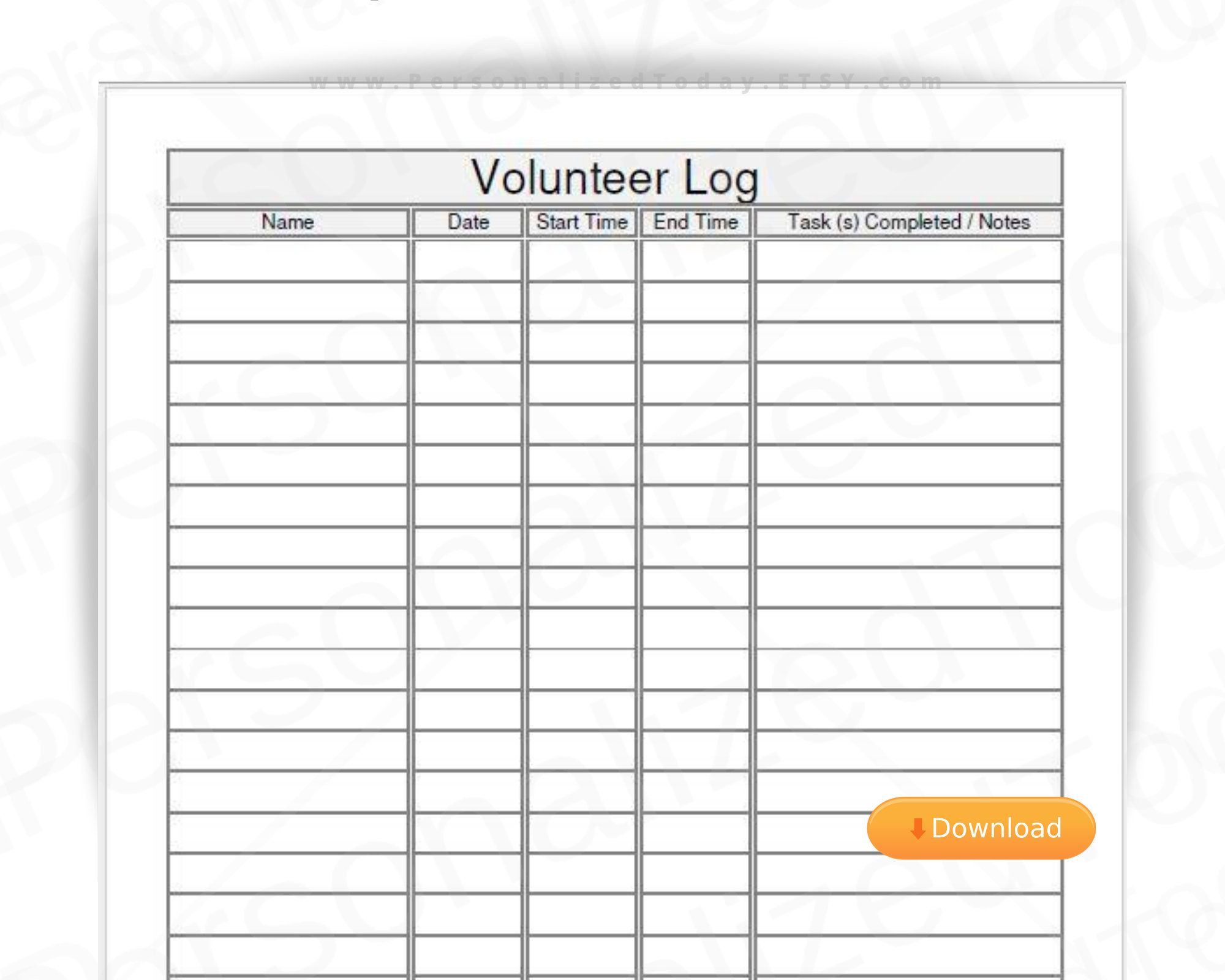 Volunteer Log Time Sheet Fillable And Printable Pdf Digital Etsy In 2021 Printables Letter Size Custom Quotes