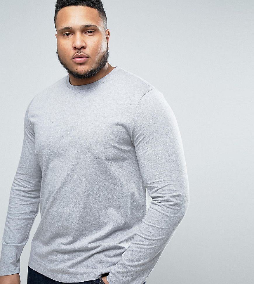 Get this Asos's long-sleeved t-shirt now! Click for more details. Worldwide  shipping. ASOS PLUS Long Sleeve T-Shirt With Crew Neck In Grey Marl - Grey:  ...
