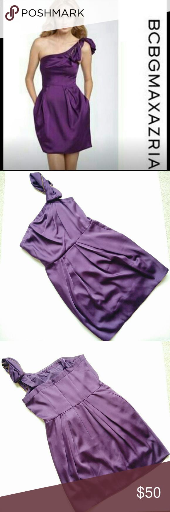 BCBG MAXAZRIA] cocktail one shoulder pocket dress
