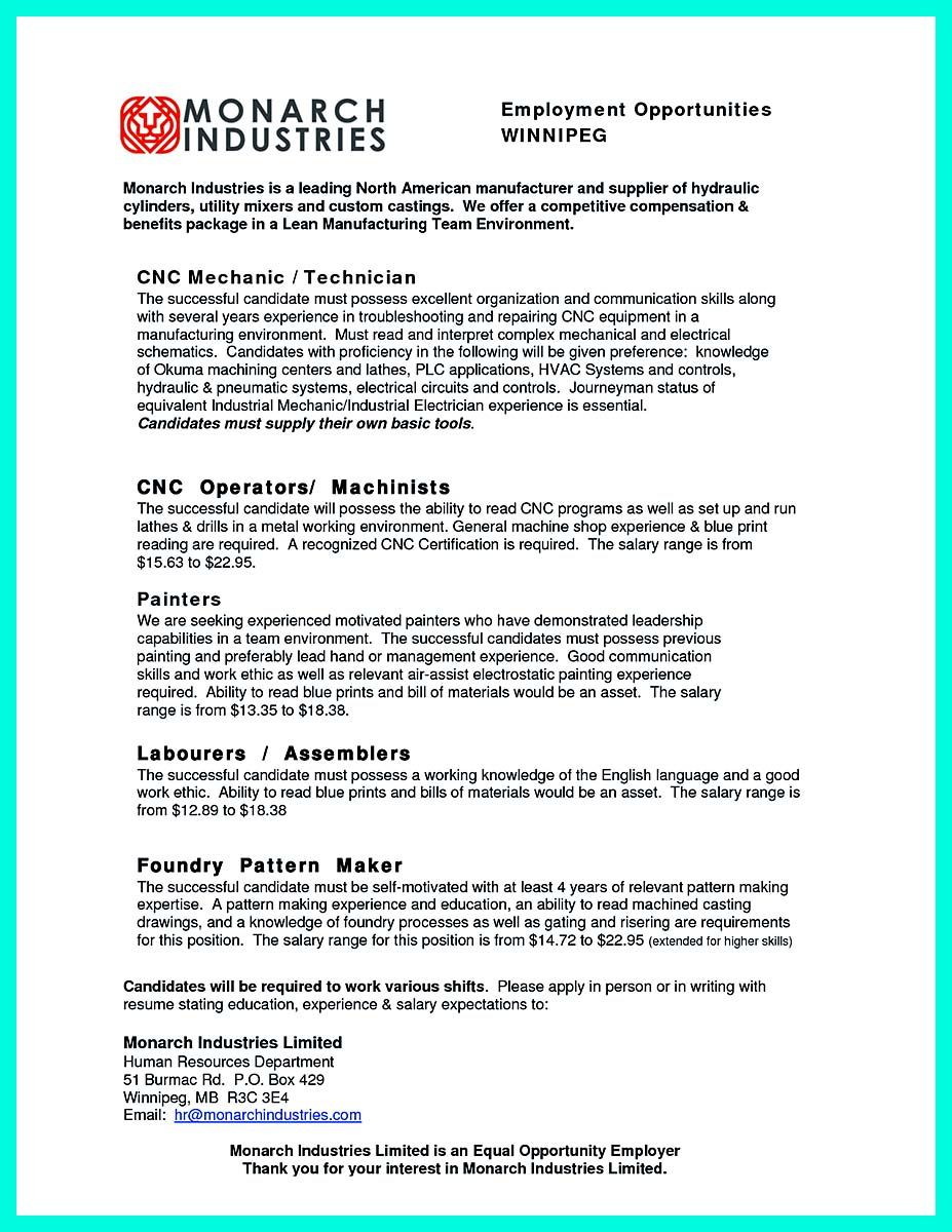 Awesome Writing Your Qualifications In Cnc Machinist Resume A