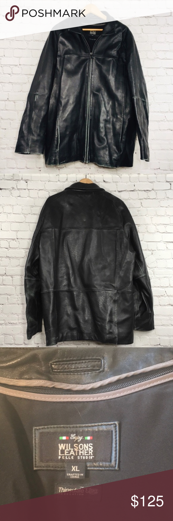 Mens Wilsons Leather Jacket Pelle Studio Jacket XL