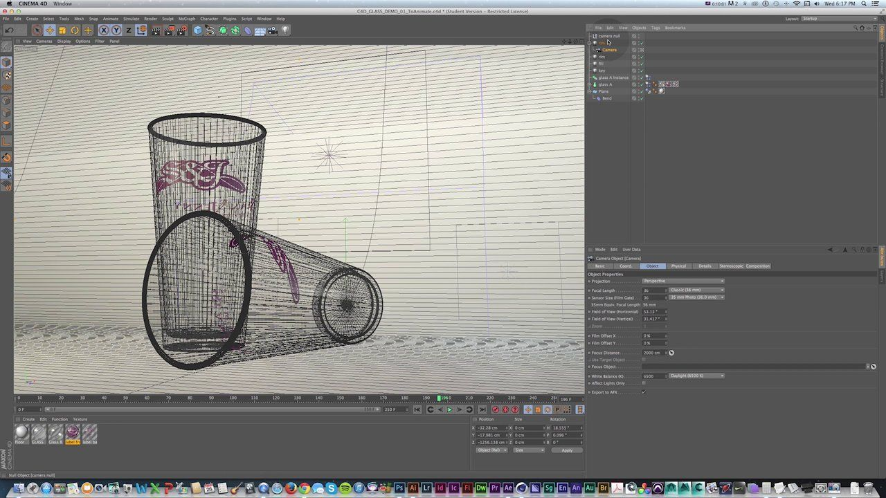 Cinema 4D - Animate Dynamics with Linked Cameras, integrate