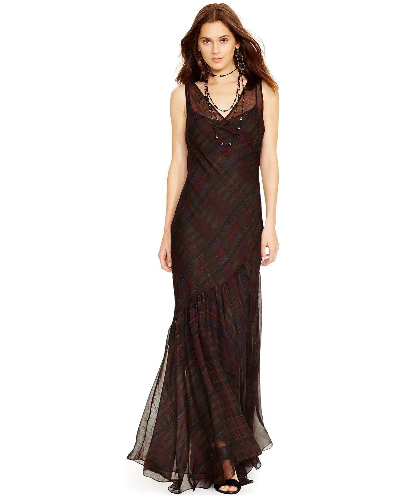 Polo Ralph Lauren Silk Plaid Maxi Dress - Dresses - Women - Macy s ... f9ac0737a