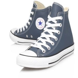 Converse Steel Grey Chuck Taylor Seas Leather Hi-Top Trainers