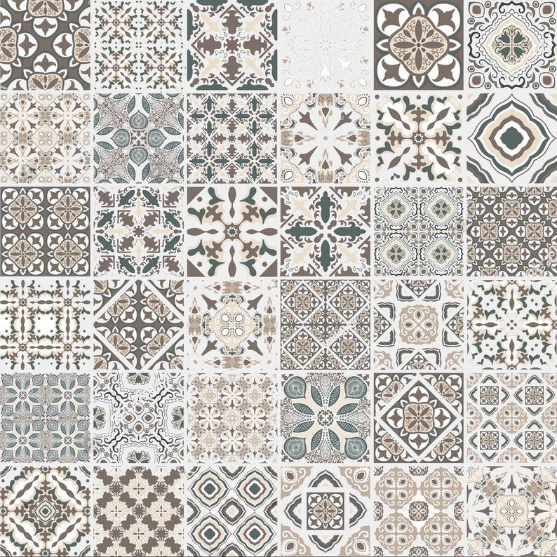 Sale 40 Vinyl Stickers Traditional Portuguese Tiles Etsy