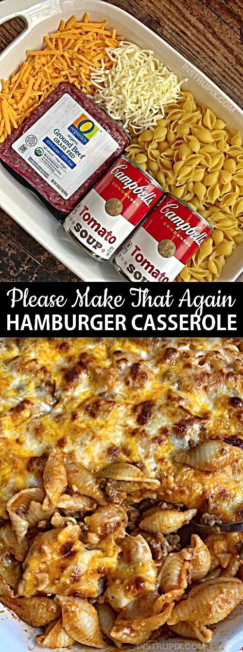 Easy Hamburger Casserole Recipe (4 Ingredients) - Instrupix  - Looking for quick and easy dinner recipes for the family? This simple casserole dish is perfect for busy weeknights, picky eaters and hungry husbands! It's not only delicous, it's also budget friendly, easy to make and a family favorite. It's made with just ground beef, pasta shells, tomato soup, cheese and seasoning to taste. Yum! #woadelish #foodmagazine #foodgallery #bhfyp #instafood #FoodStory #foodholic #like #foodinspo #vegan #