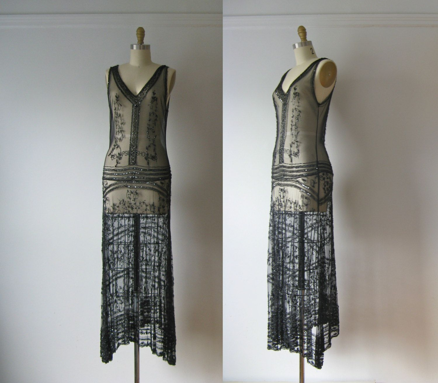 Vintage 1920s Dress 20s Beaded Fler