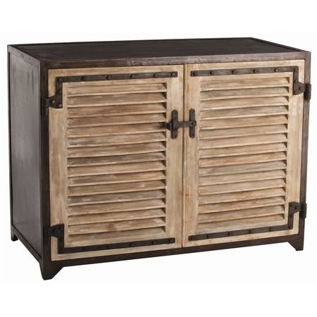 Paris Industrial Iron Wood 2 Door Cabinet Wood Shutters Wooden Cabinets Furniture