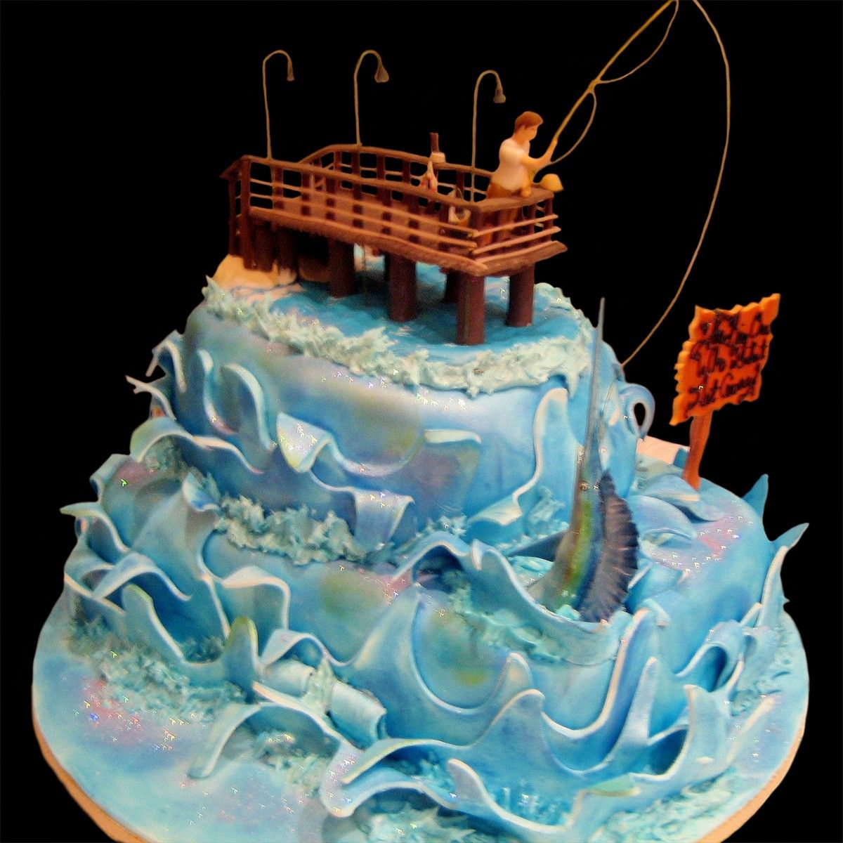 Fishing birthday cakes for men home fishing and pier for Fishing themed cakes