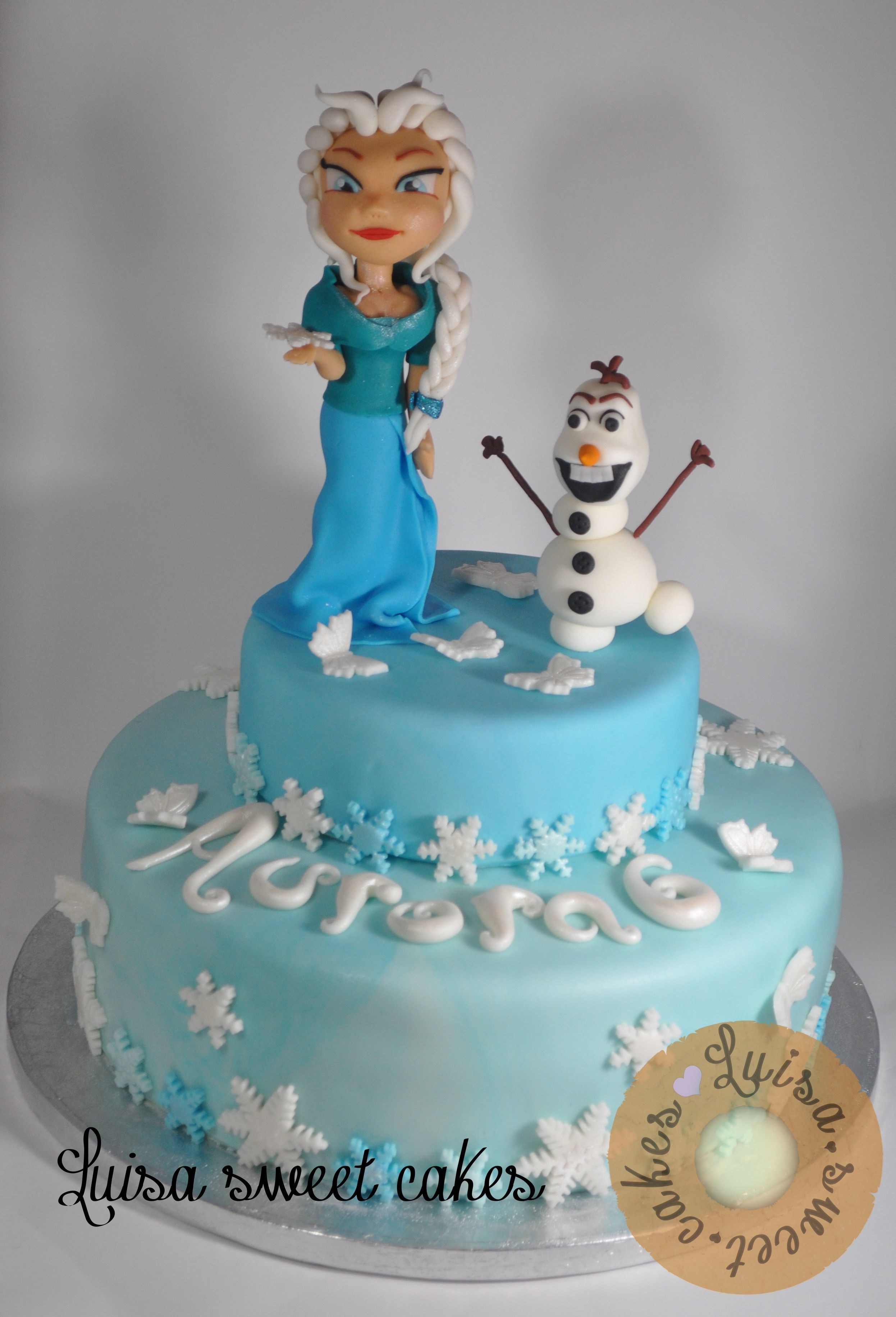 Frozen Disney -  -Elsa and olaf cake  made with sugar paste from luisasweetcakes