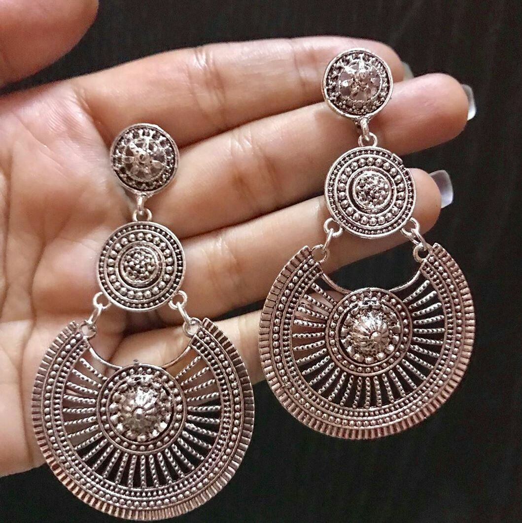 Jewels Of Jaipur Womens New Arrivals Oxidised Silver Plated Bohemian Floral Stud Earrings Gift Jewelry