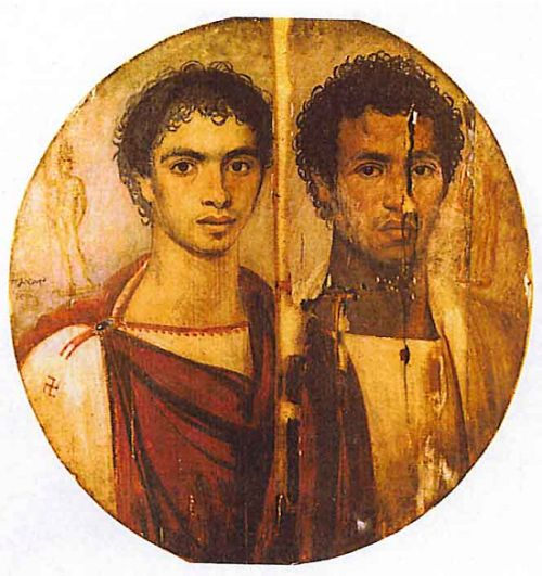 Done in the Greek style on the burial tondo of two young men from the Graeco-Roman-Egyptian city of Antinoöpolis - The young man on the left is probably of Greek or Graeco-Egyptian descent, over his shoulder is the date 15 Pachons–but, we don't know what the date means.  The man on the right may be of mainly Egyptian descent, or mixed Greek and Egyptian heritage, or perhaps even Ethiopian or Nubian.