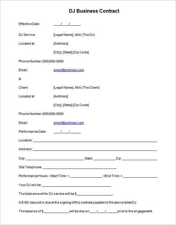 Wedding Dj Equipment Contract Template Word Template Business Proposal Template