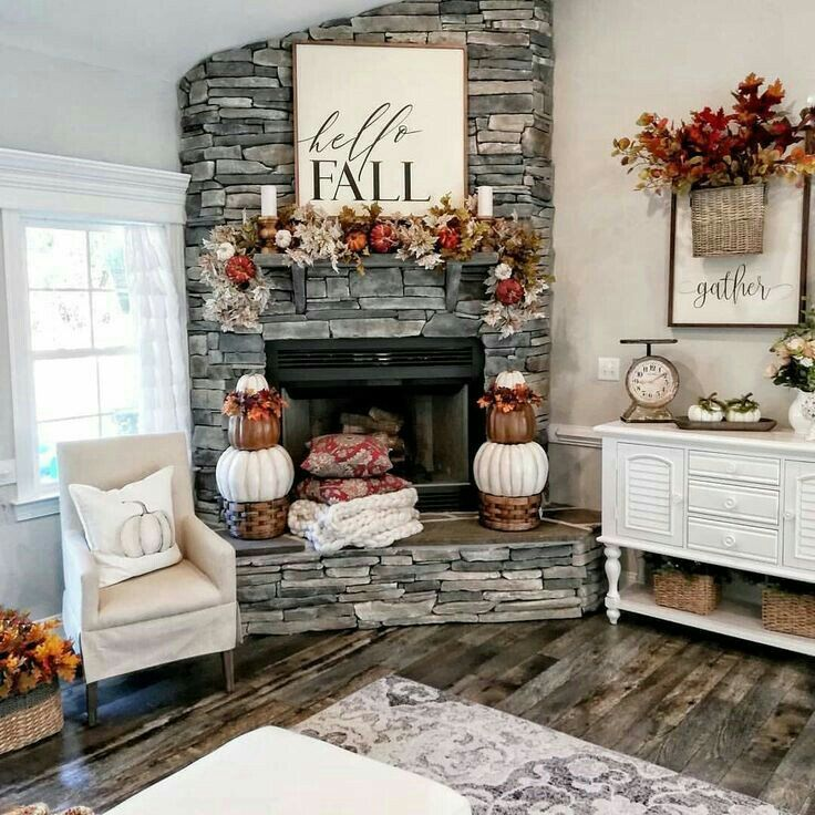 Fall Mantle Decorating Ideas | Lures And Lace #fallmantledecor