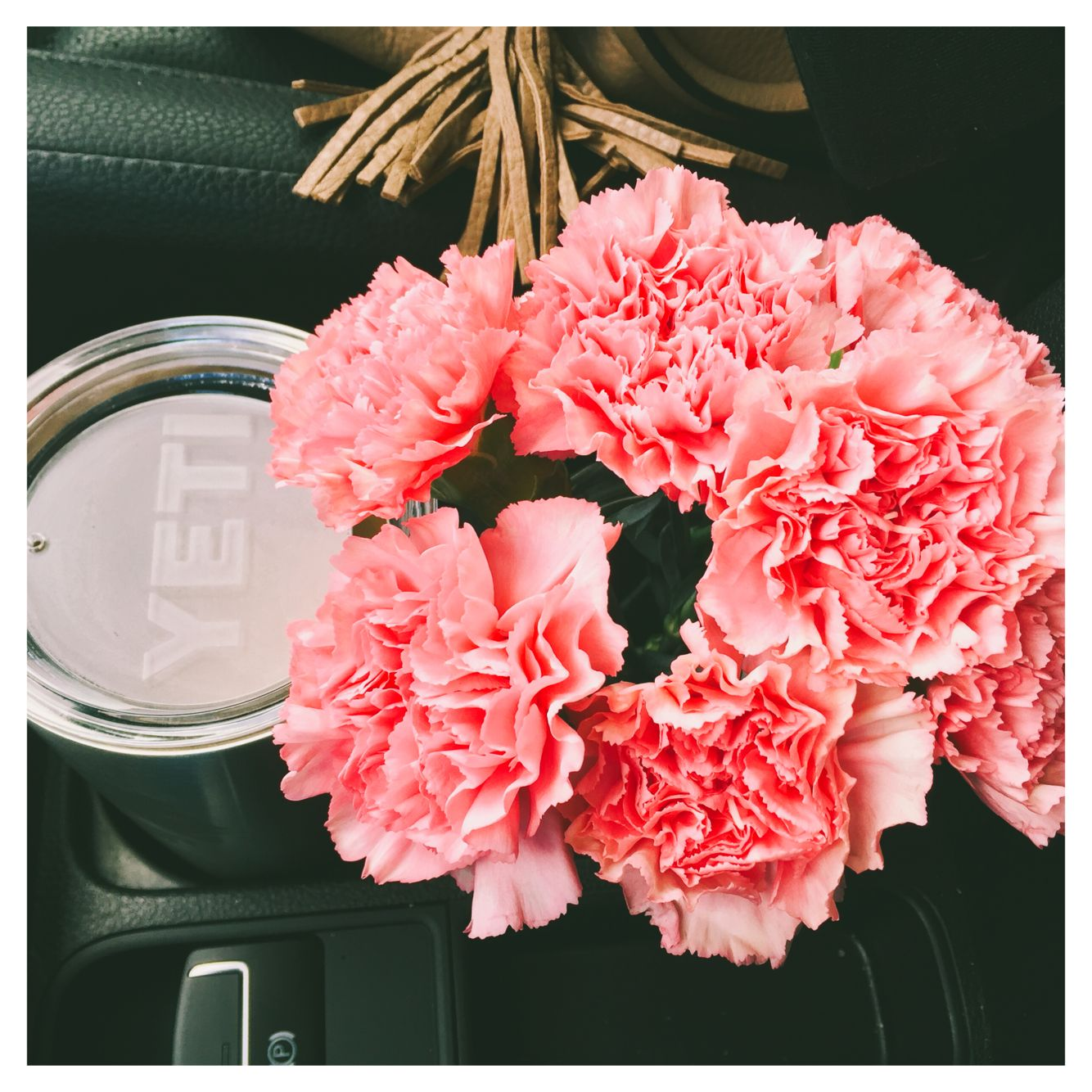 Carnations and coffee.
