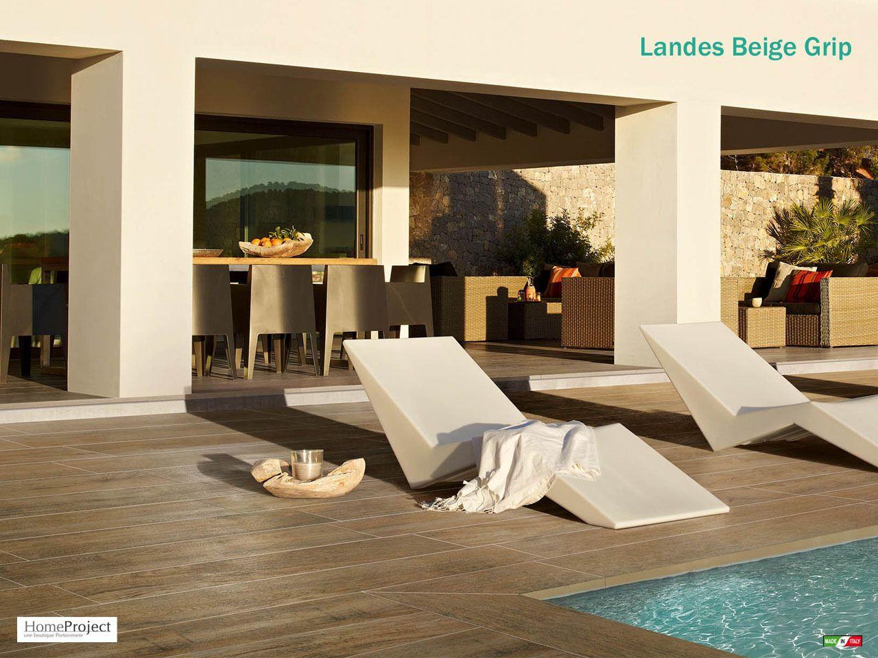 Carrelage ext rieur parquet landes beige 16x99 5 cm grip - Terrasse carrelage imitation bois ...