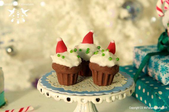 Santa Hat Cupcakes  1/12 Scale Dollhouse by HummingbirdMiniature, $9.99