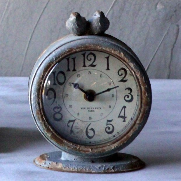 Distressed Pewter Table Clock With Birds