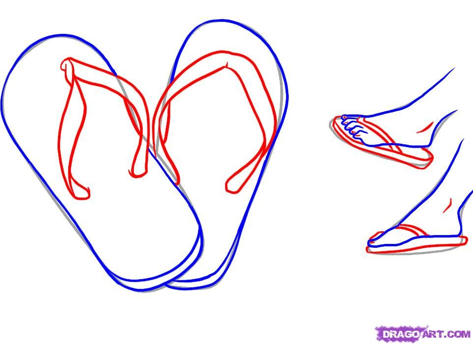 3024ee777f6ad0 how to draw flip flops step 3