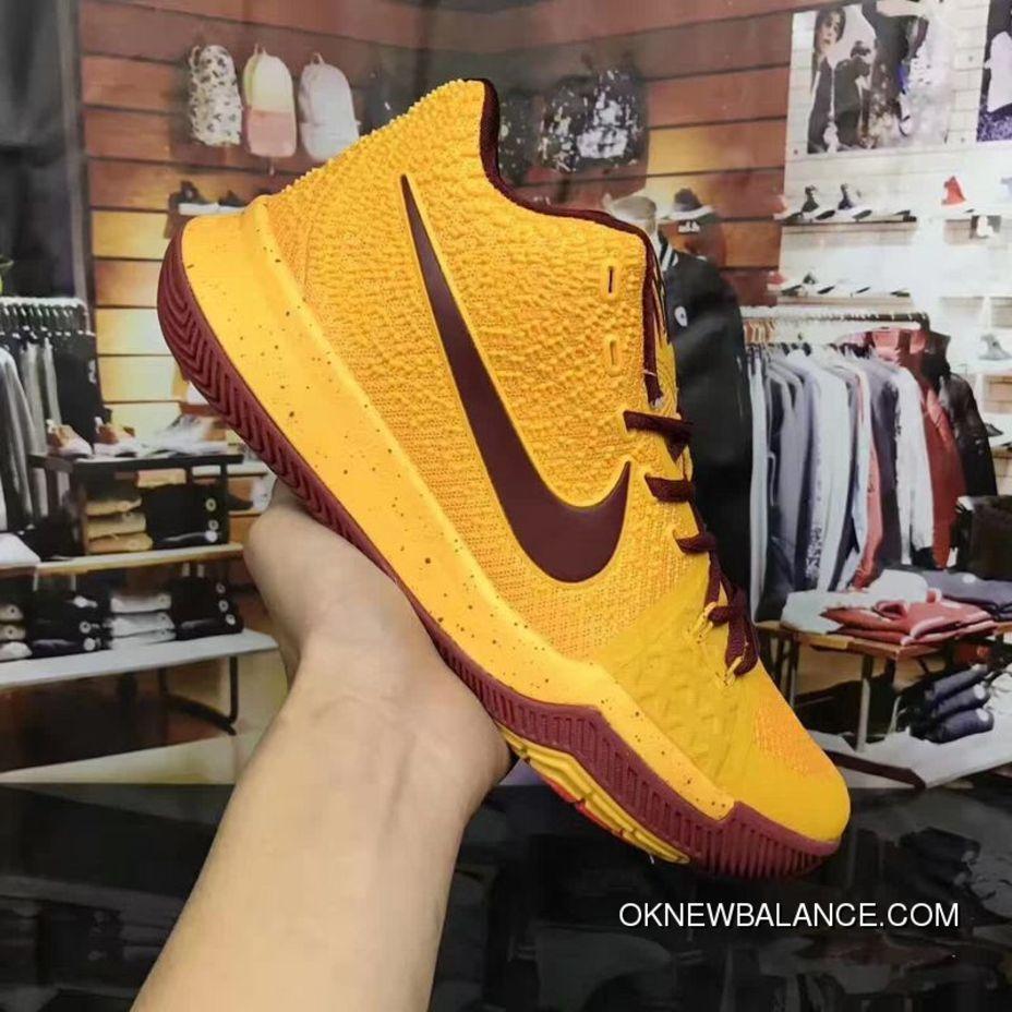 870f09b239f 2017 Nike Kyrie 3 PE Cavs Yellow Burgundy Online