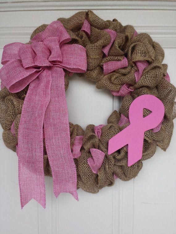 Photo of 15 Jutekranz mit Krebsband. Dies ist eine Spendenaktion für den AMERICAN CANCE … – Preiswerte Hobbys – Sackleinenkranz