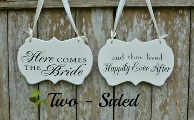Two Sided Here Comes the Bride / and they lived Happily Ever After Wedding Sign, Painted Wooden Shabby / Cottage Chic Flower Girl / Ring Bearer Sign.