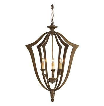 A traditional bronze bell shaped silhouette gets a contemporary update in this small classic keyhole style chandelier.  Three lights create a play of shadows and interest.