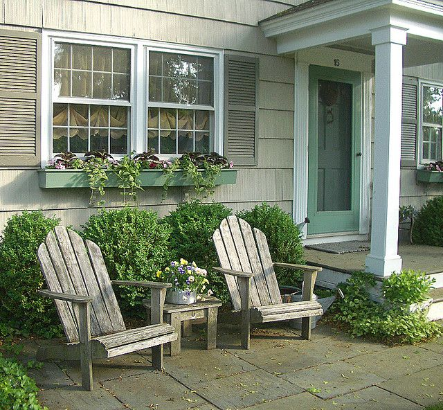 Adirondacks patios for Front yard patio courtyard