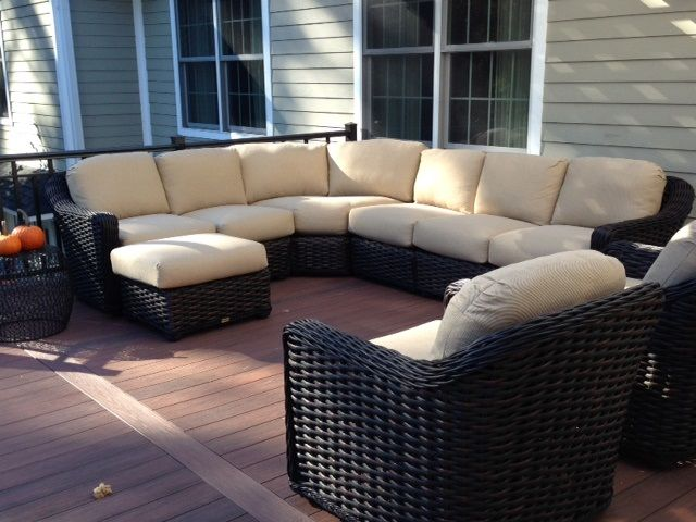 Customer Submitted Picture Enjoying Their New Lane Venture Outdoor Wicker Furniture South Hampton Sectional