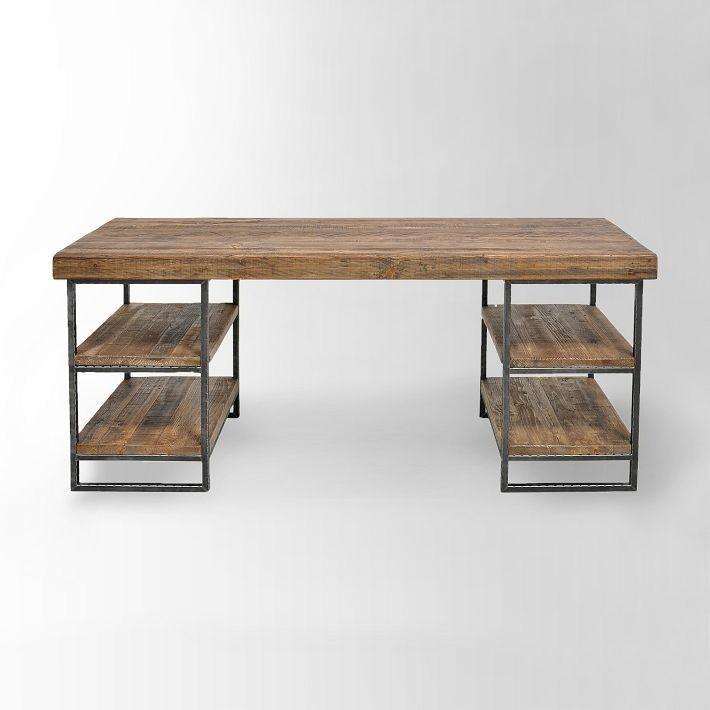 escritorio hierro enchapado madera cajones  mesa perchero - muebles en madera modernos