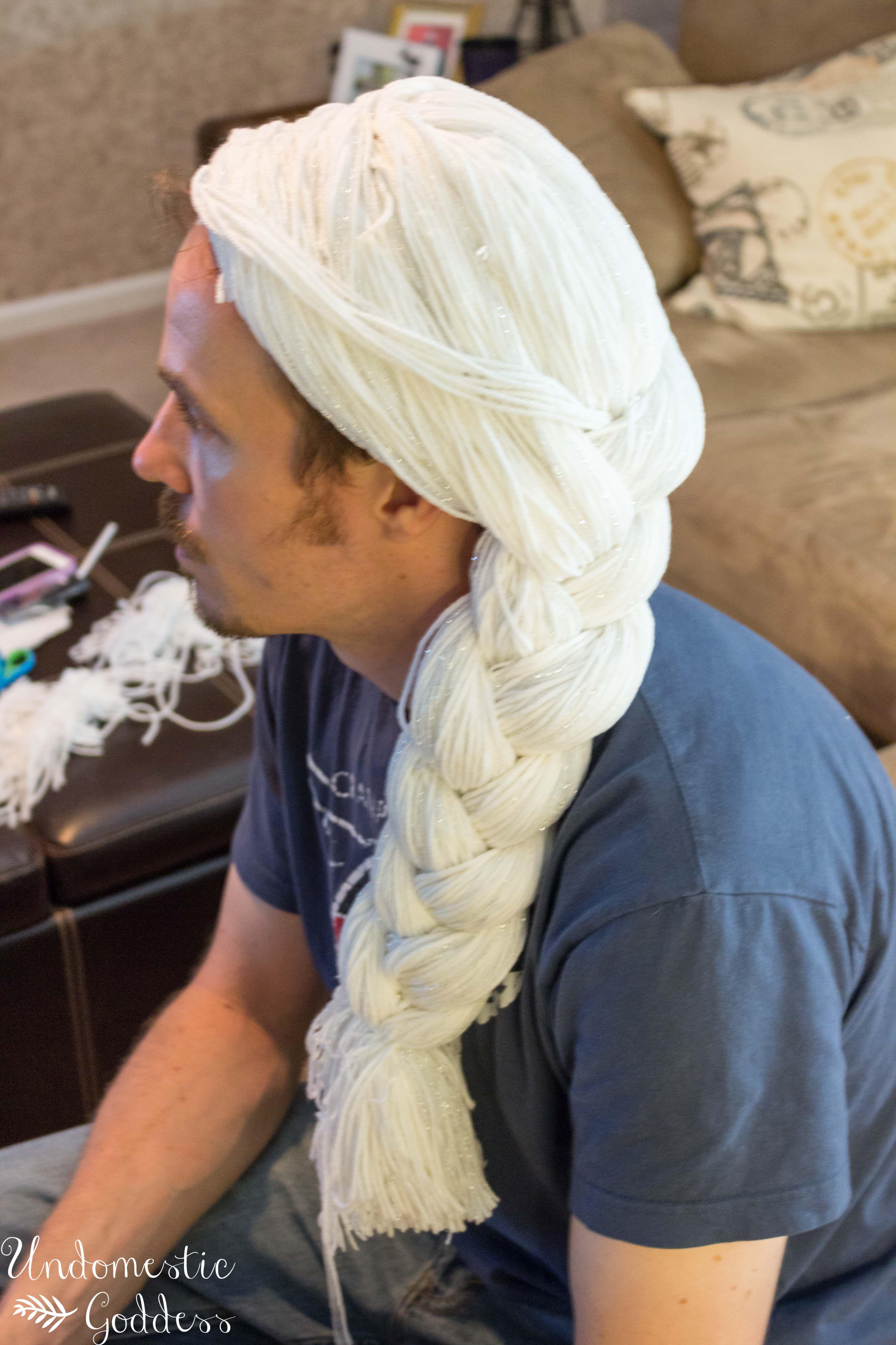 diy elsa frozen wig knit