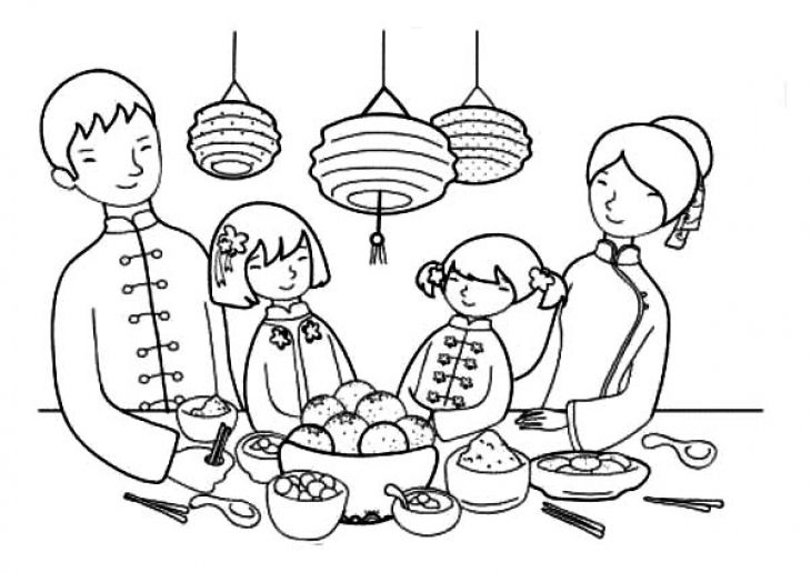 Chines Family On Chinese New Year Coloring Page | Fun Coloring Pages ...
