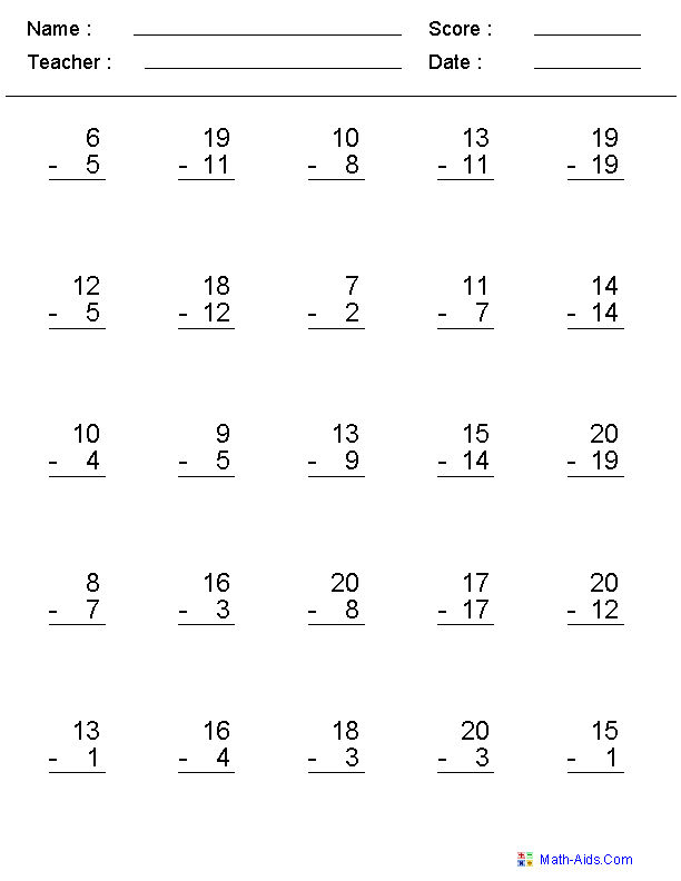 Create your own subtraction practice worksheets (or type of math ...