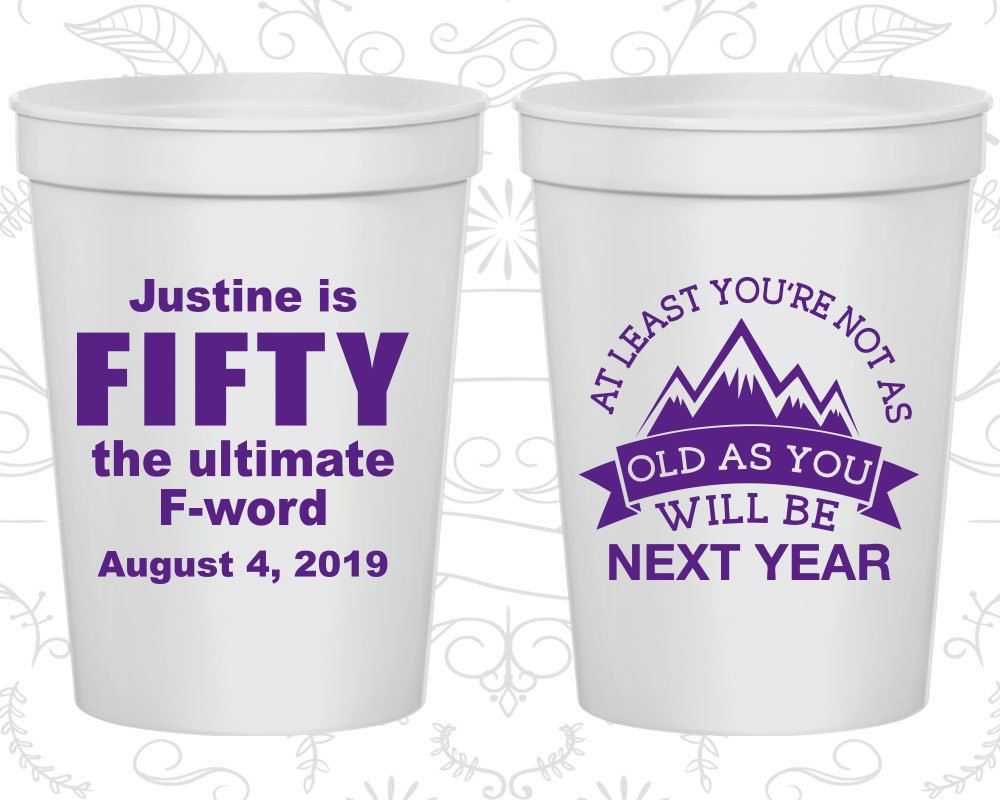 Th birthday cups personalized birthday party cups fifty the
