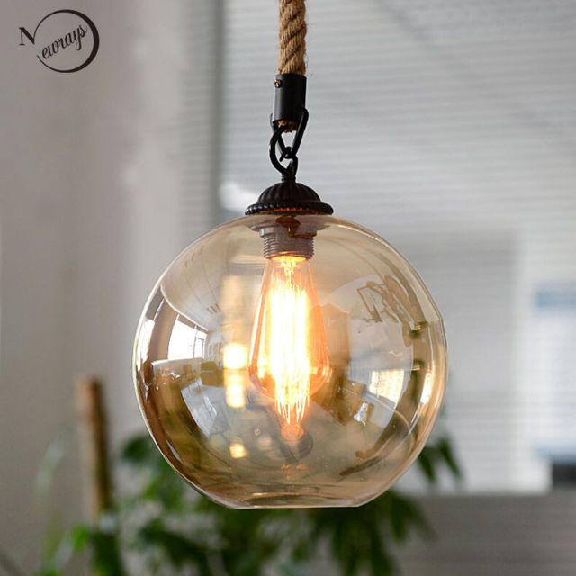 Loft industrial glass ball hemp rope pendant lighting lights loft industrial glass ball hemp rope pendant lighting lights ceiling fixtures mozeypictures Images