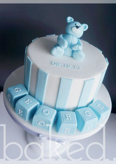 Christening Cake for baby boy with bear and baby blocks on ...