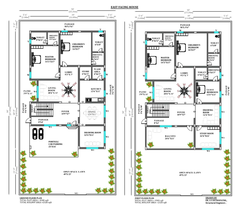 50'x90' G 1 East facing home furniture interior plan as per vastu shastra Download the free 2D Autocad drawing file