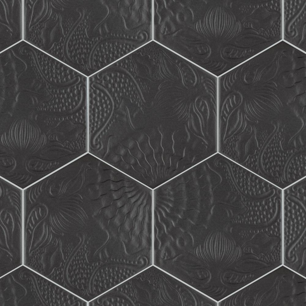 Merola Tile Gaudi Hex Black 8 5 8 In X 9 7 8 In Porcelain Floor And Wall Tile 11 56 Sq Ft Case Fcd10g Floor And Wall Tile Porcelain Flooring Wall Tiles