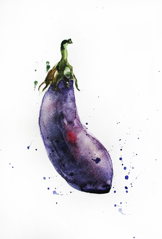 Original Watercolor Painting, Eggplant Art, Vegetables Watercolor, Eggplant  Watercolor, Kitchen Decor,
