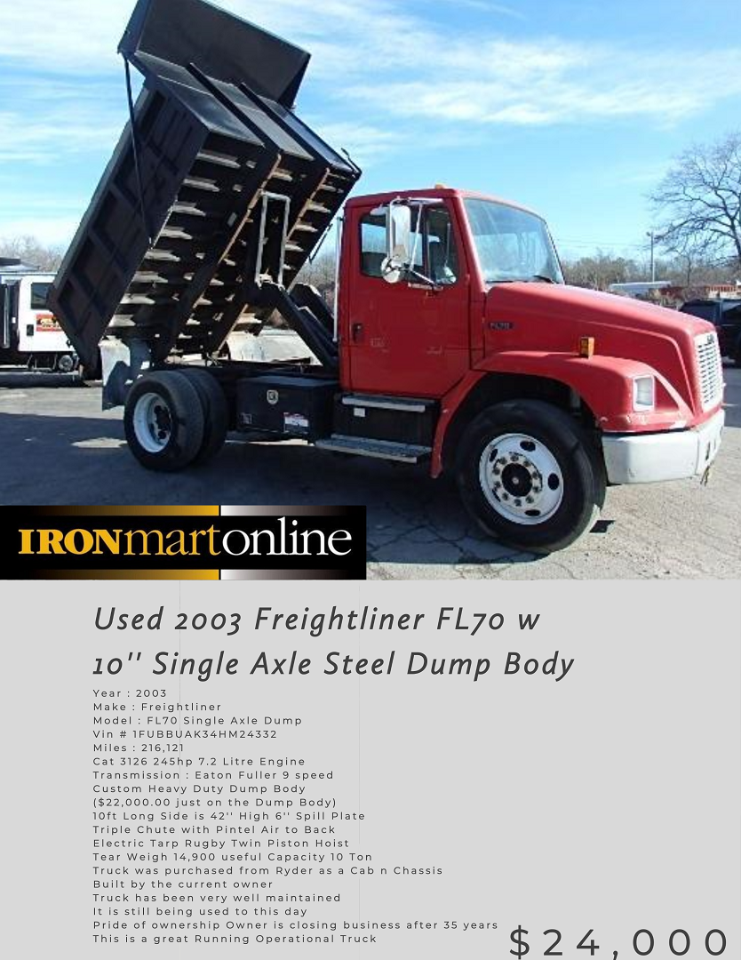 Freightliner Fl70 W 10 Single Axle Steel Dump Body In 2020 With Images Dump Body Freightliner Body