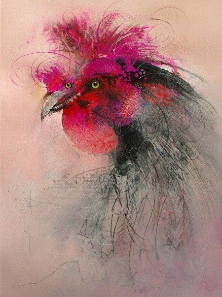 """""""Black Australorp Considering""""- Gouache, Acrylic, Ink, Watercolor and Charcoal. By John Lovett"""