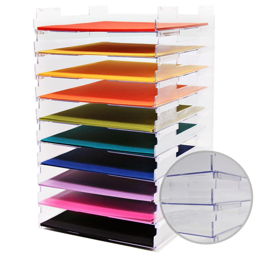 Umbrella Crafts 12 X 12 Stackable Paper Trays No Lip 10 Pack Scrapbook Paper Storage Scrapbook Storage Paper Storage